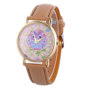 Casual Quartz PU Leather Watch for Women - Owl Gifts Shop