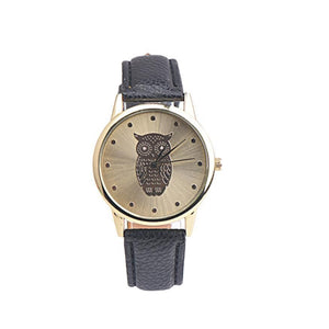 Elegant Owl Design Women's Watch with PU Leather Band - Owl Gifts Shop