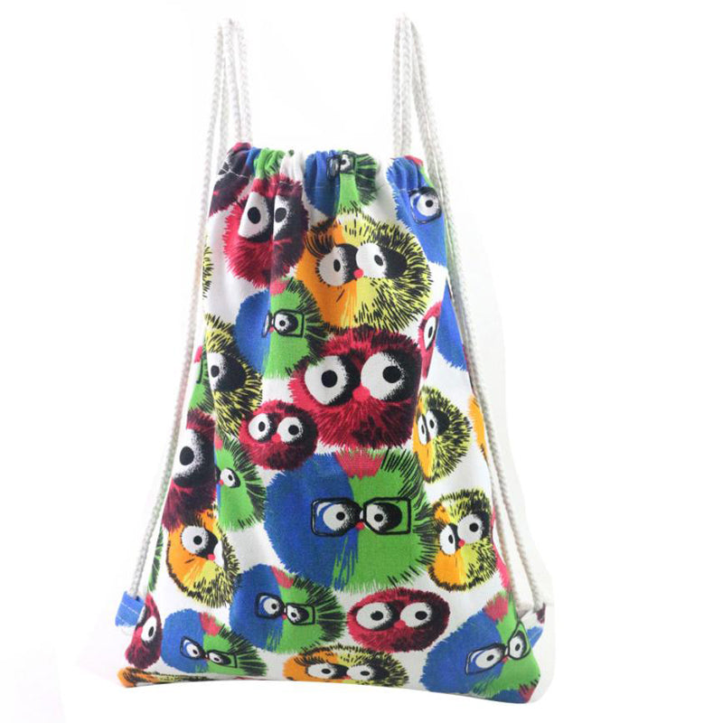 Drawstring Bag For Women with Owl Printing