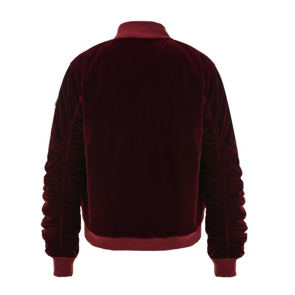 VELOUR BOMBER JACKET - BURGUNDY