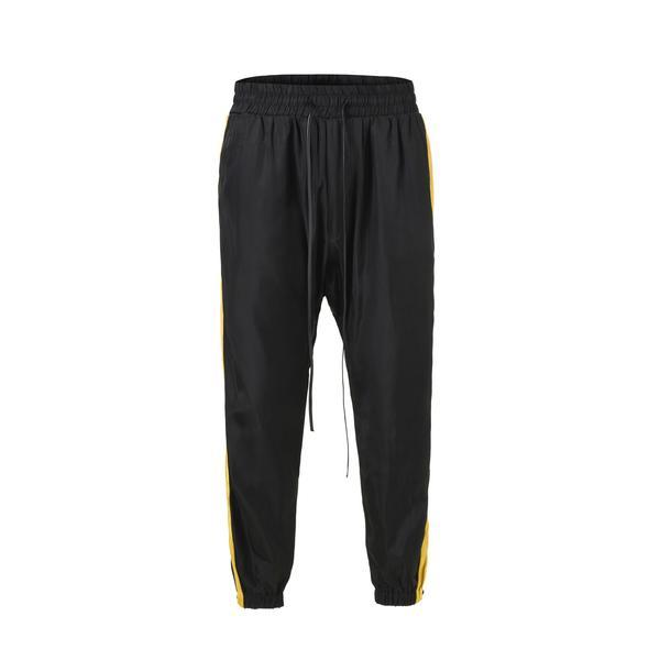 RETRO SPORTS PANTS - BLACK with YELLOW side stripes