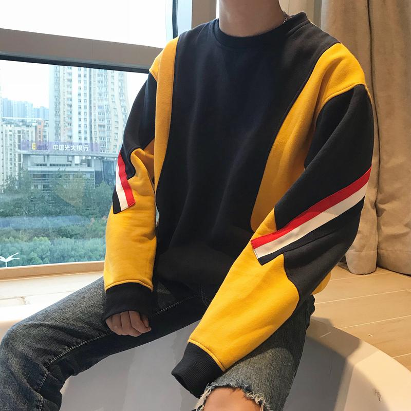PATCHWORK FLEECE SWEATER - YELLOW / BLACK