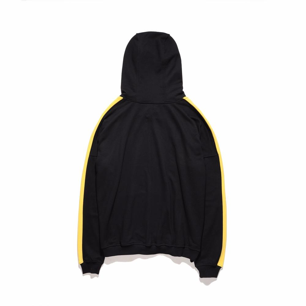 TRACK RETRO HOODIE - BLACK with YELLOW side stripes