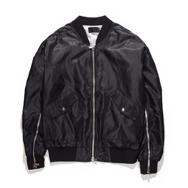 INNER ZIPPED BOMBER JACKET - BLACK