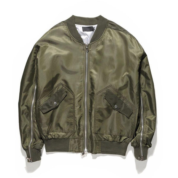 INNER ZIPPED BOMBER JACKET - GREEN