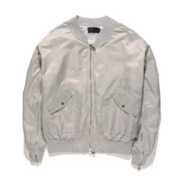 INNER ZIPPED BOMBER JACKET - SILVER