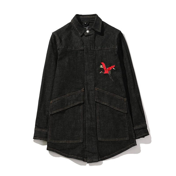 """RULAI"" KANJI DENIM JACKET BLACK"