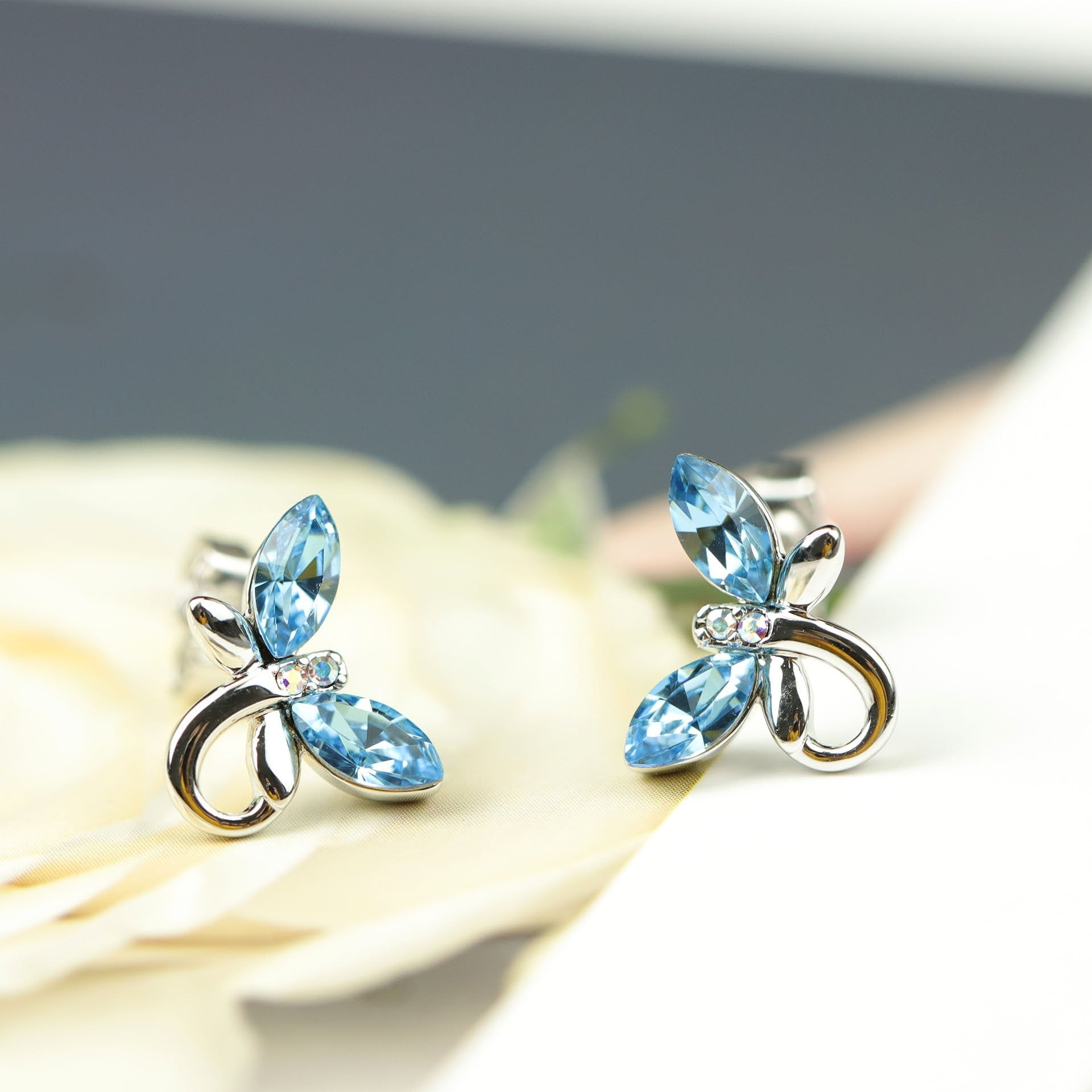 Butterfly Crystal Silver Stud Earrings