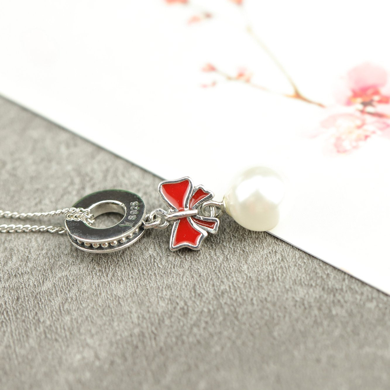 Christmas Bow Pearl Pendant with Chain