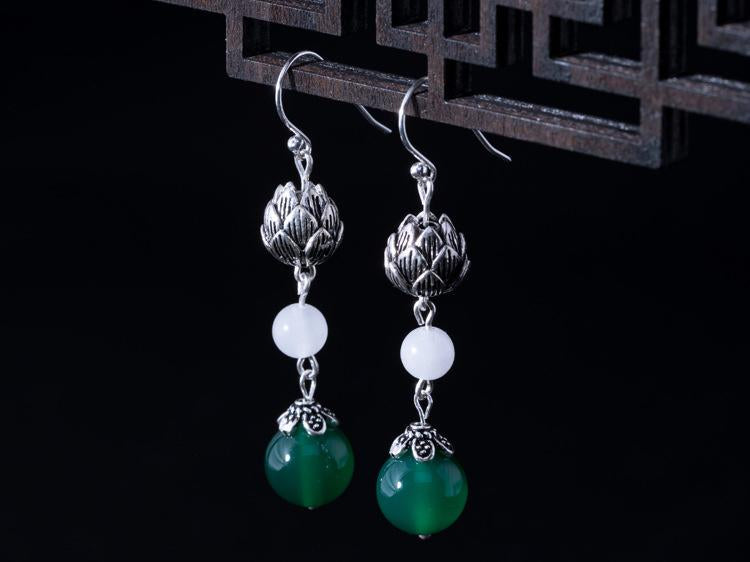 Handmade Natural Jade Drop Earrings