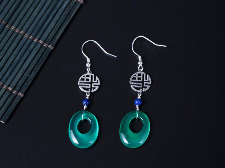 Gorgeous Green Agate Drop Earrings