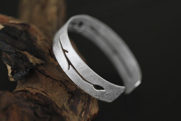 Bird on Branch Silver Bangle