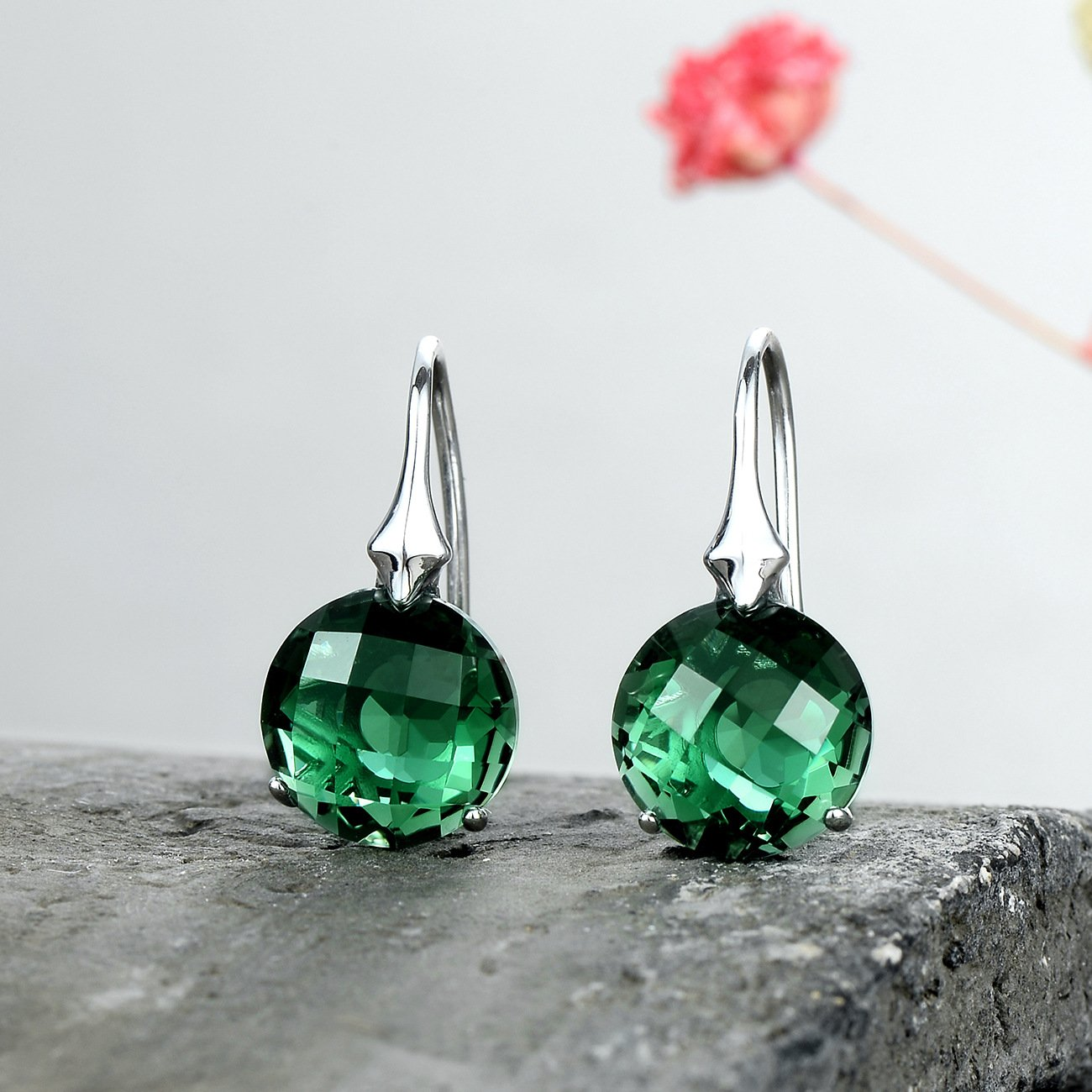 S925 Green Geometry Crystal Drop Earrings