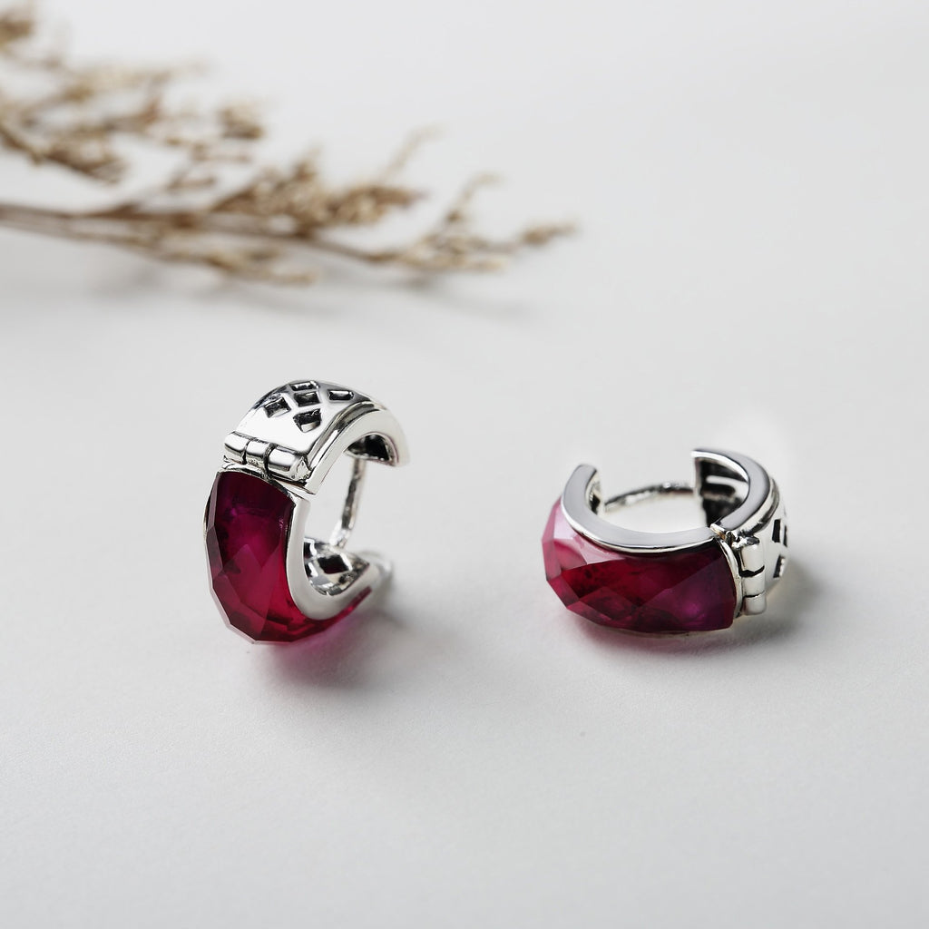 Vintage Red Corundum Leverback Earrings