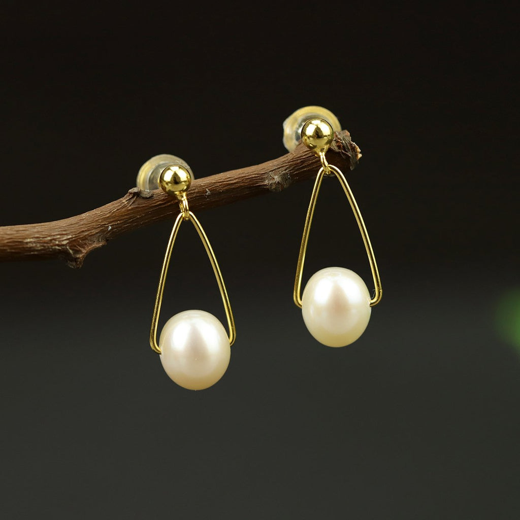 Unique Triangle Shaped Pearl Stud Earrings
