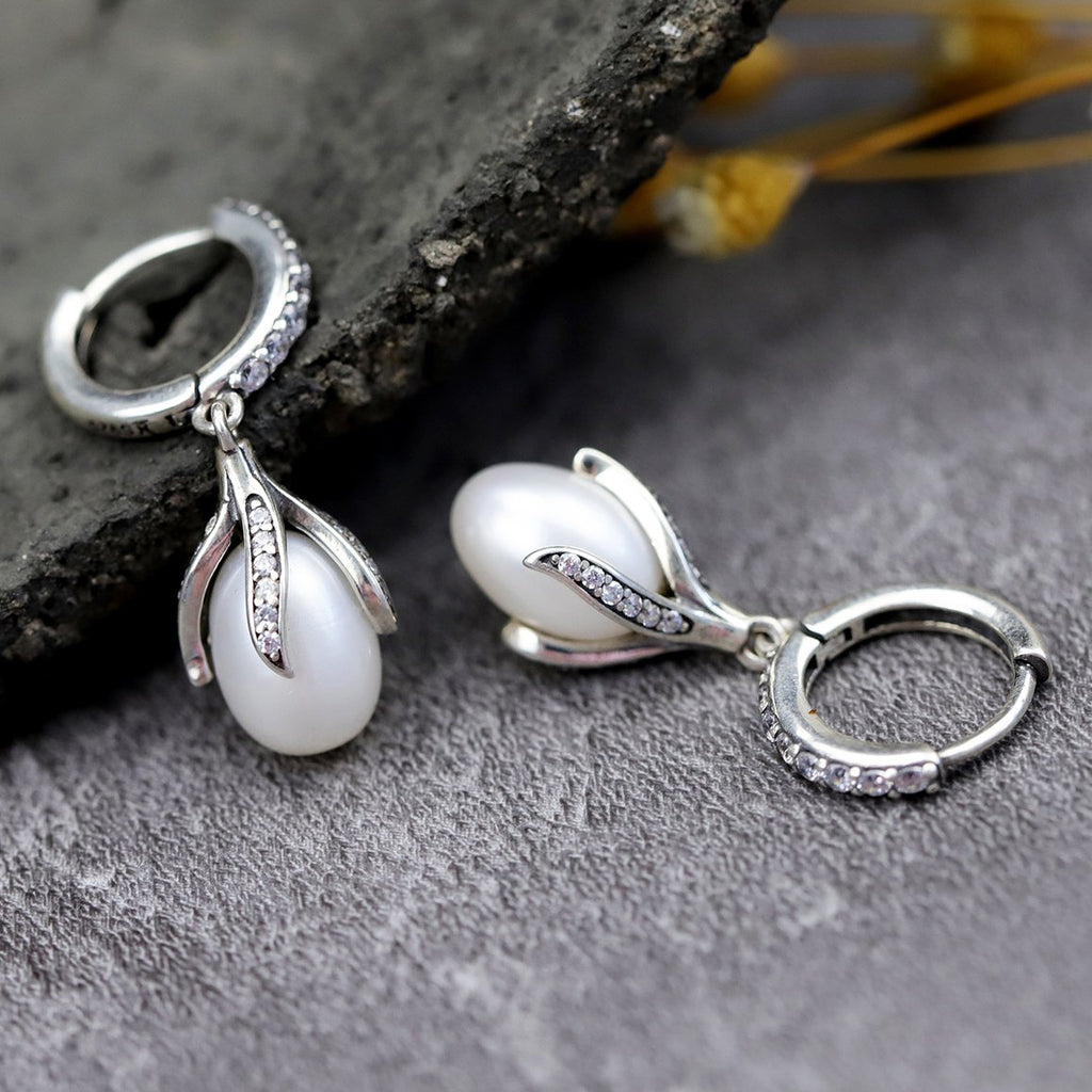 Shy Bud Silver Drop Earrings