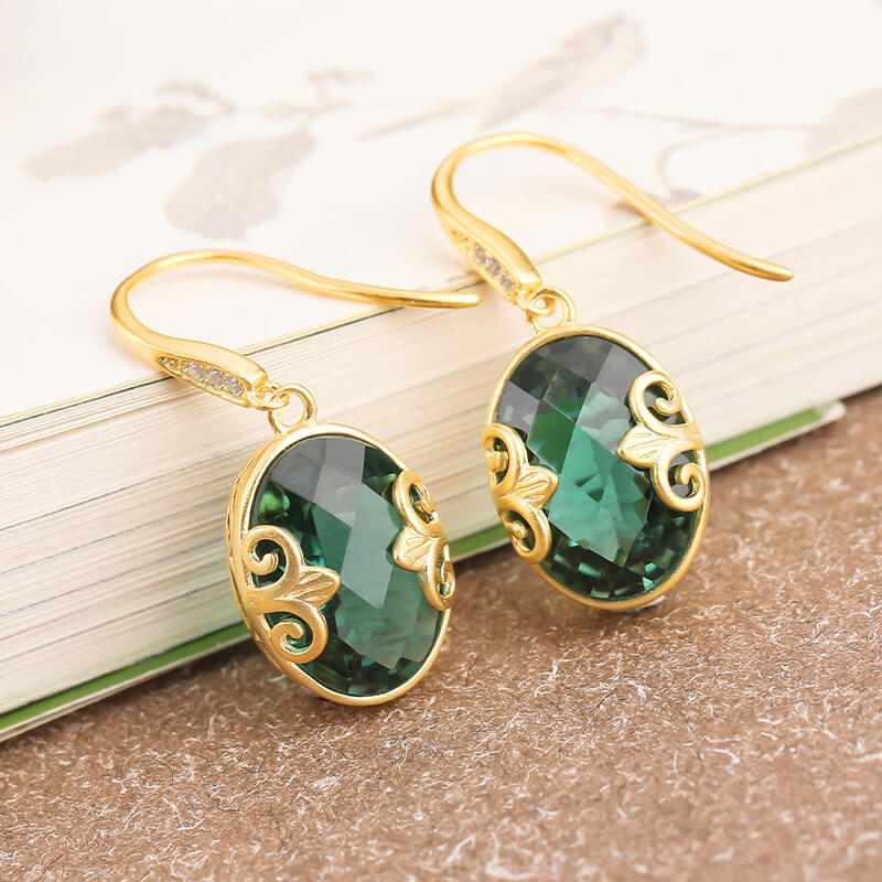Green Crystal Cloud Pattern Drop Earrings