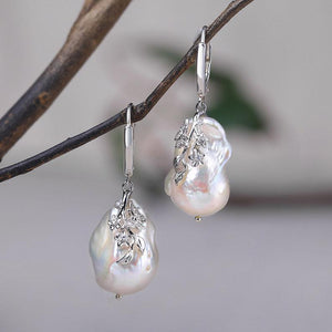 Natural Engraved Baroque Pearl Earrings