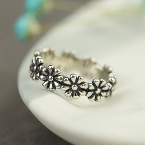 Vintage Daisy Silver Open Ring