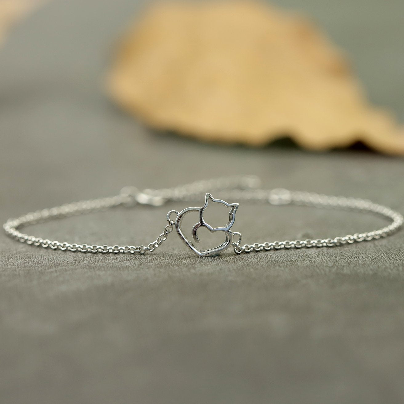 Lovely Cat Silver Bracelet