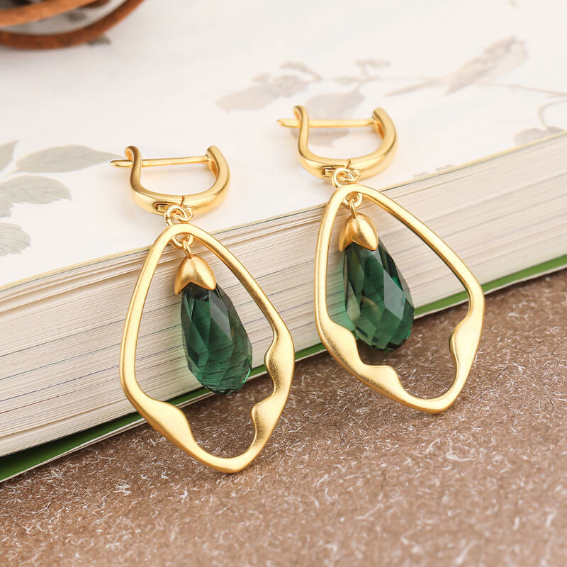 Vintage Green Crystal Leverback Earrings