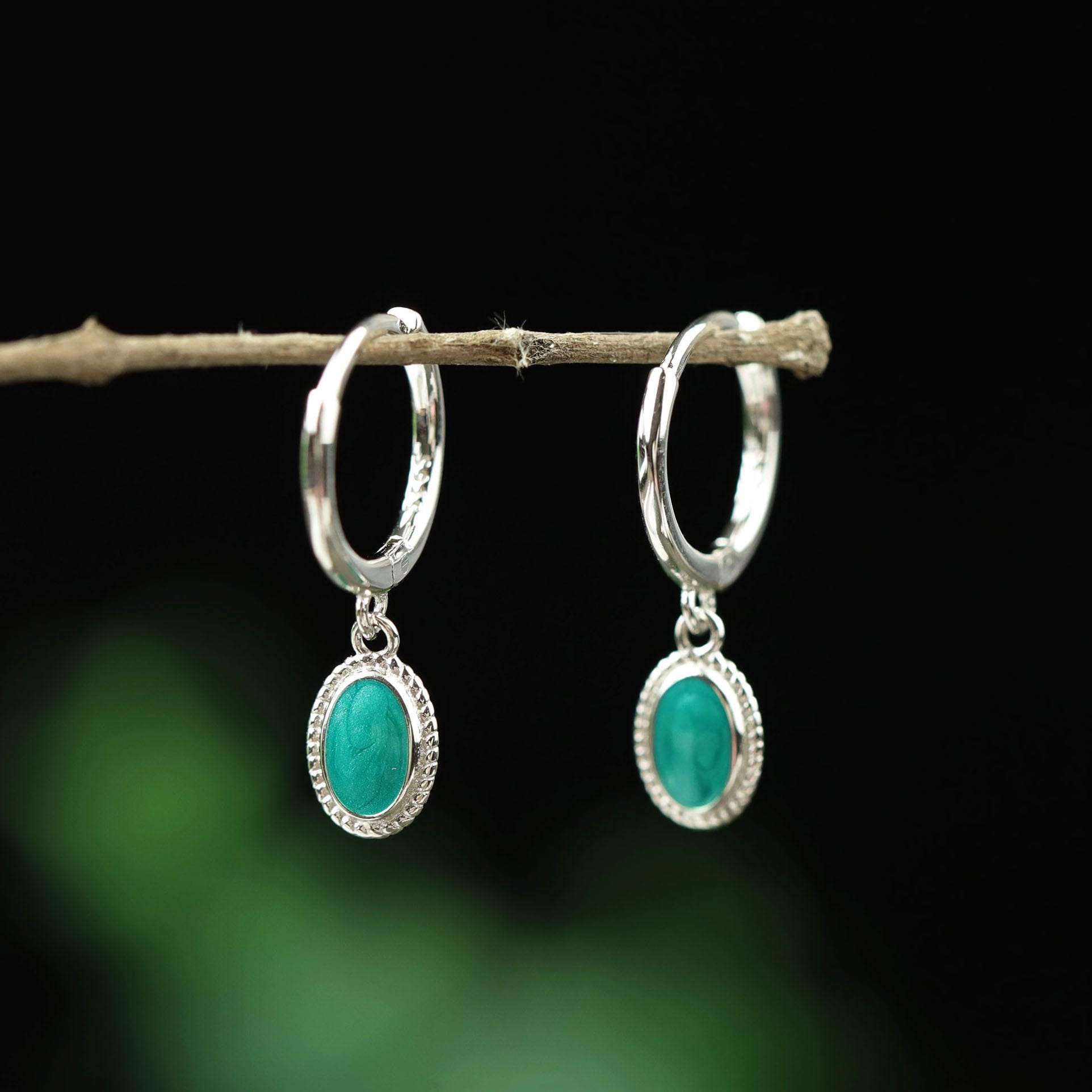 Starry Sky Green Hoop Earrings