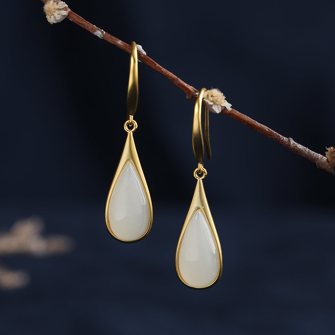 Waterdrop White Jade Drop Earrings