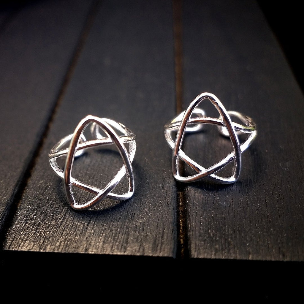 Star Silver Clip on Earrings