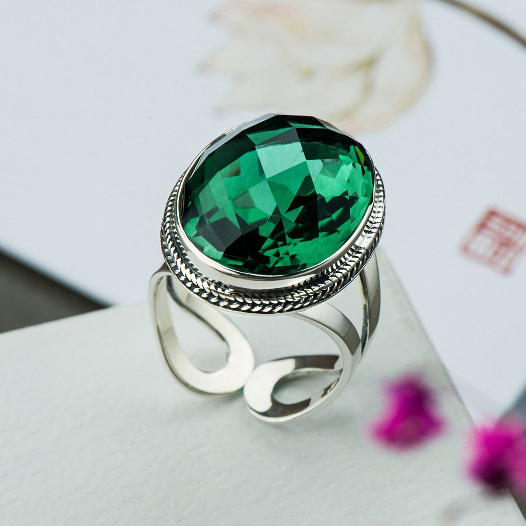 Gorgeous Green Crystal Adjustable Ring