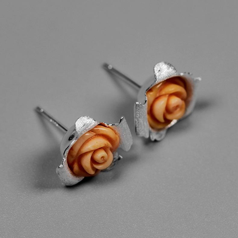 Paper Rose Stud Earrings