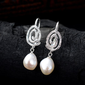 Original Fingerprint Pearl Drop Earrings