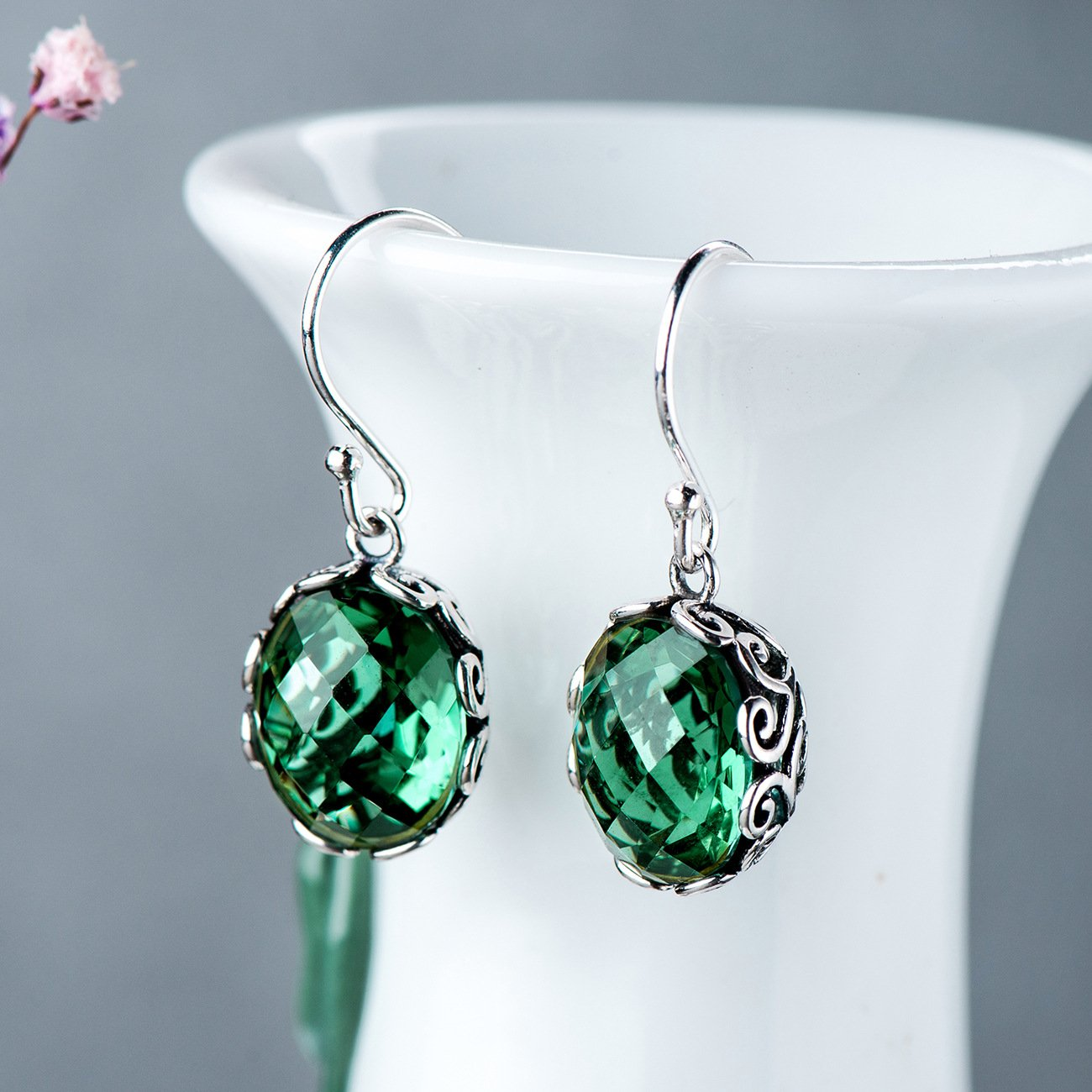 Vintage Green Crystal Drop Earrings