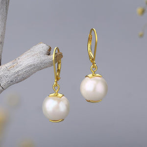Natural Pearl Leverback Drop Earrings