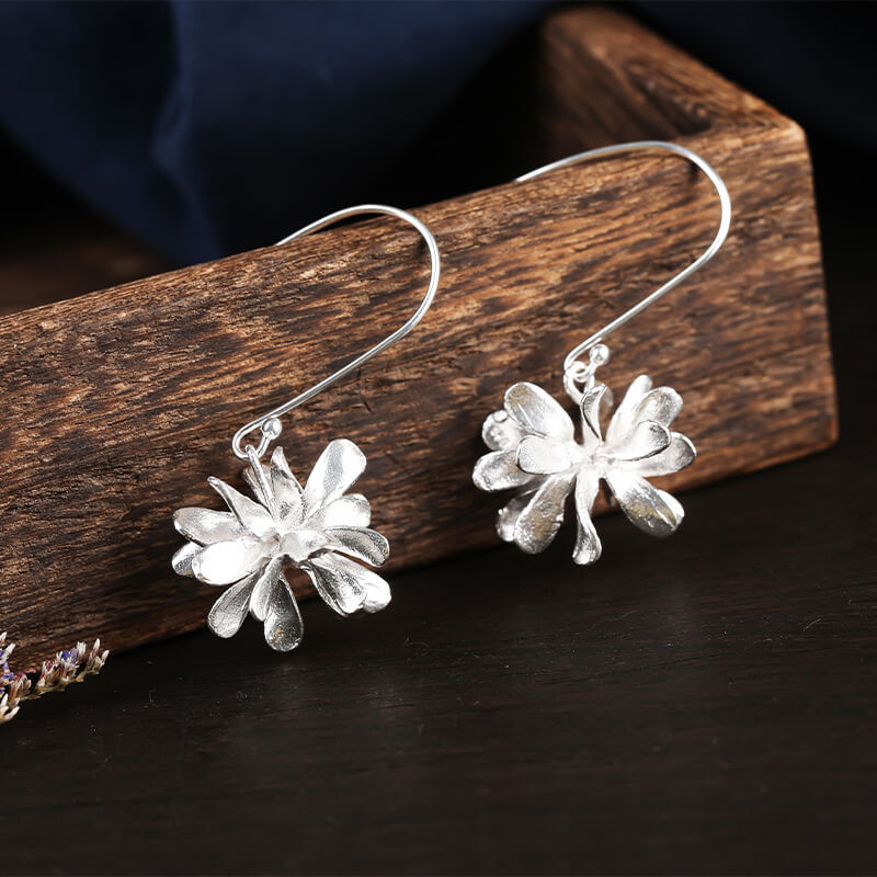 S925 Silver Flower Drop Earrings
