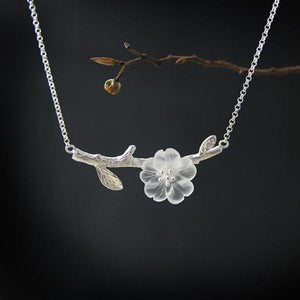 Flower in Rain Natural Crystal Necklace