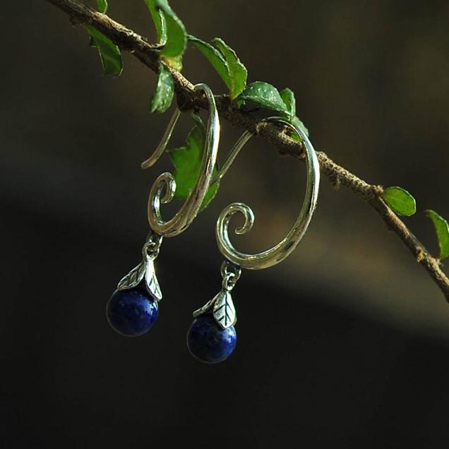 Vintage lapis Drop Earrings
