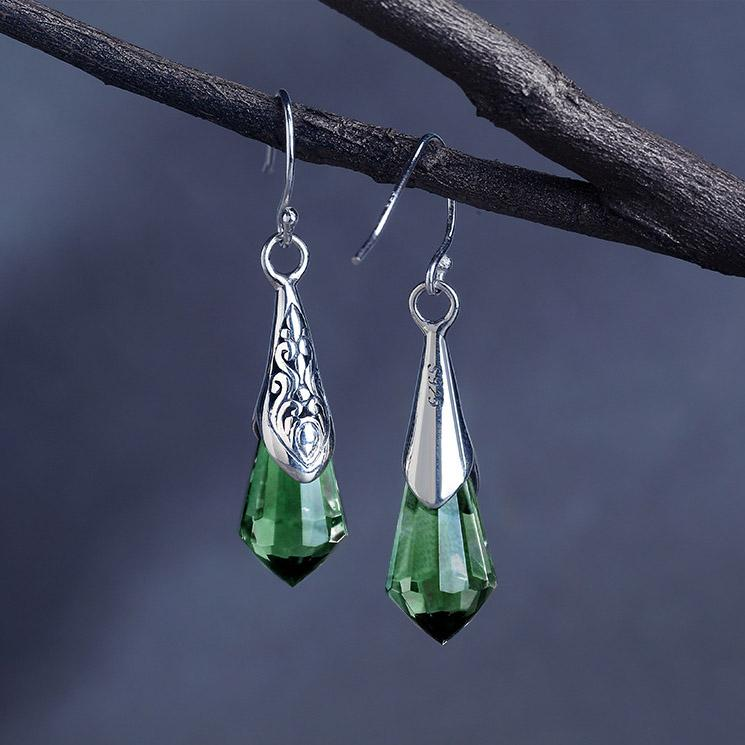 Delicate Green Crystal Drop earrings