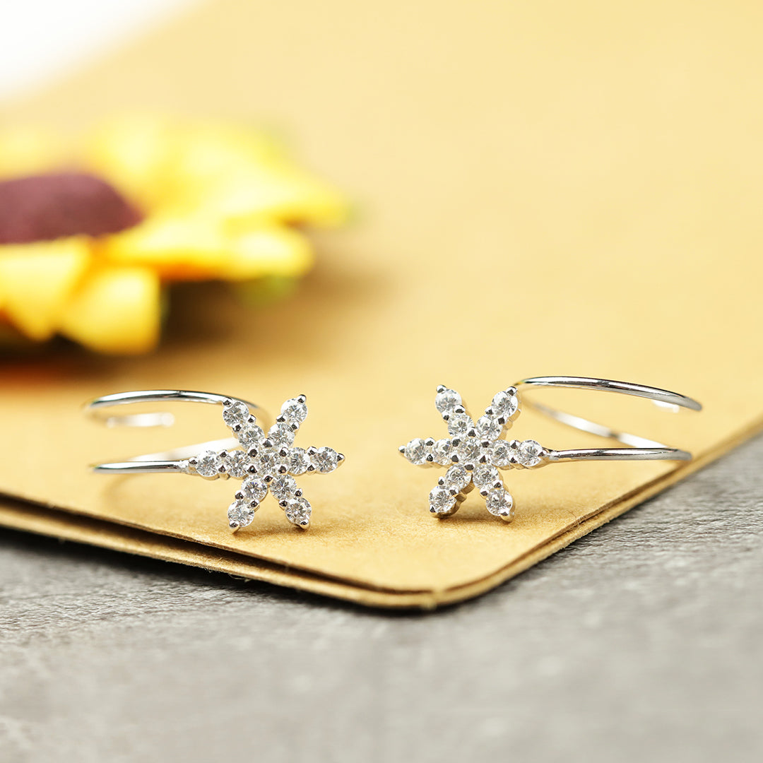 Silver Winter Snowflake Zircon Earrings