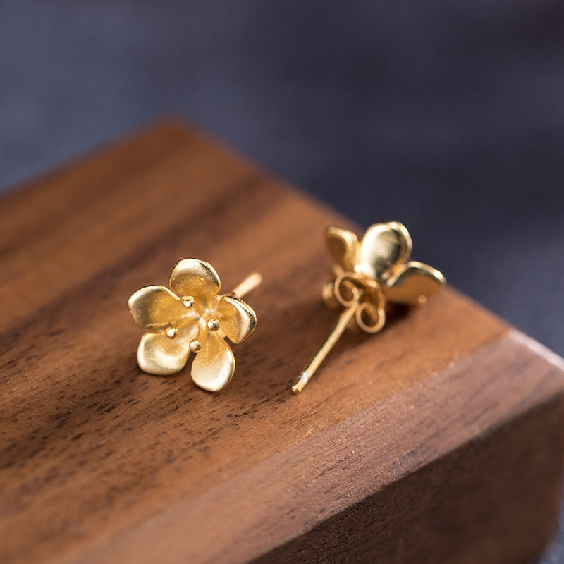 S925 Golden Times Flower Stud Earrings