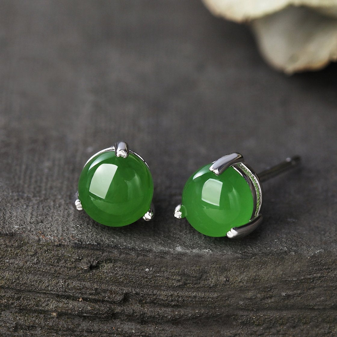 Natural Green Jade Silver Stud Earrings