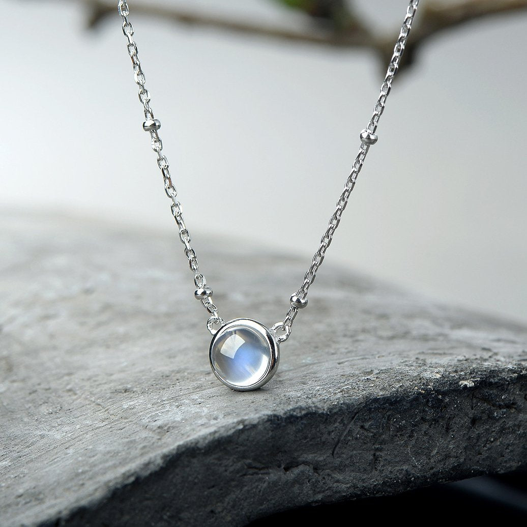 Natural Moonstone Silver Necklace