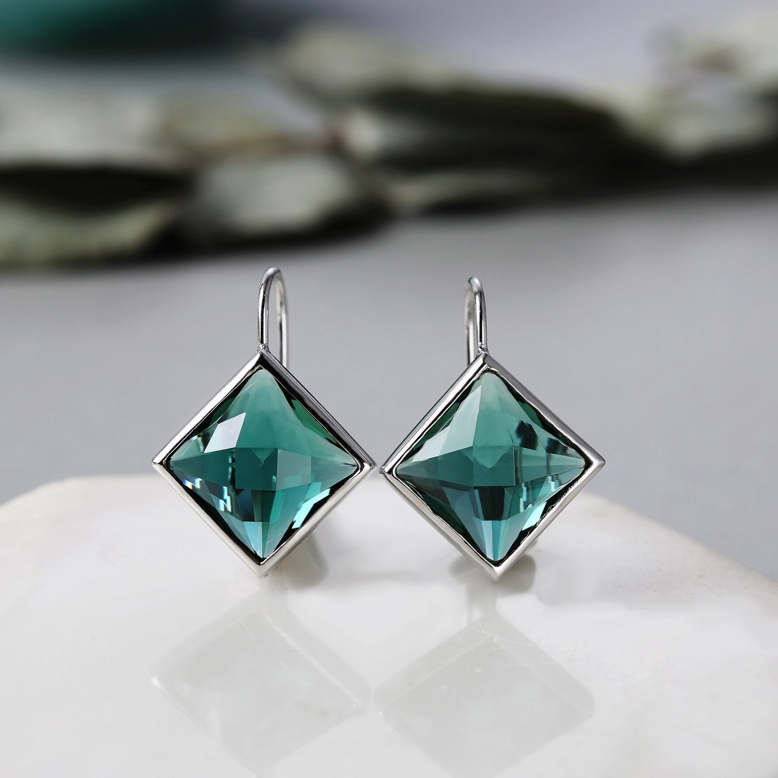 Green Crystal Square Drop Earrings