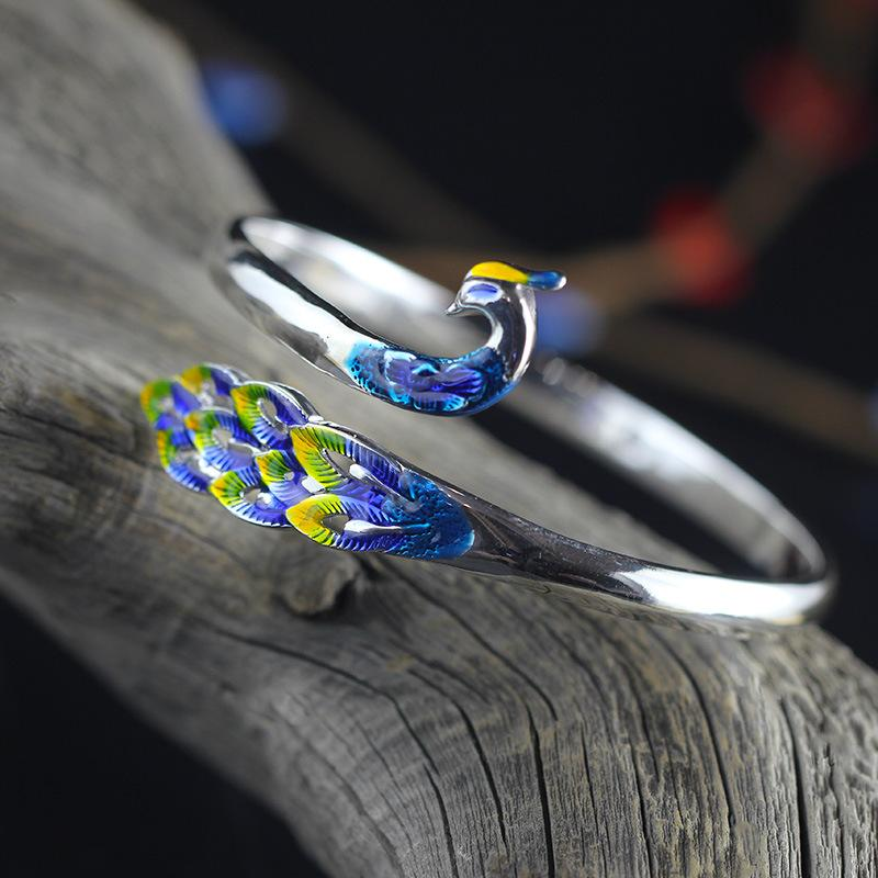 Gorgeous Blue Peacock Silver Bangle