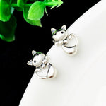 Sweet Cat Silver Stud Earrings