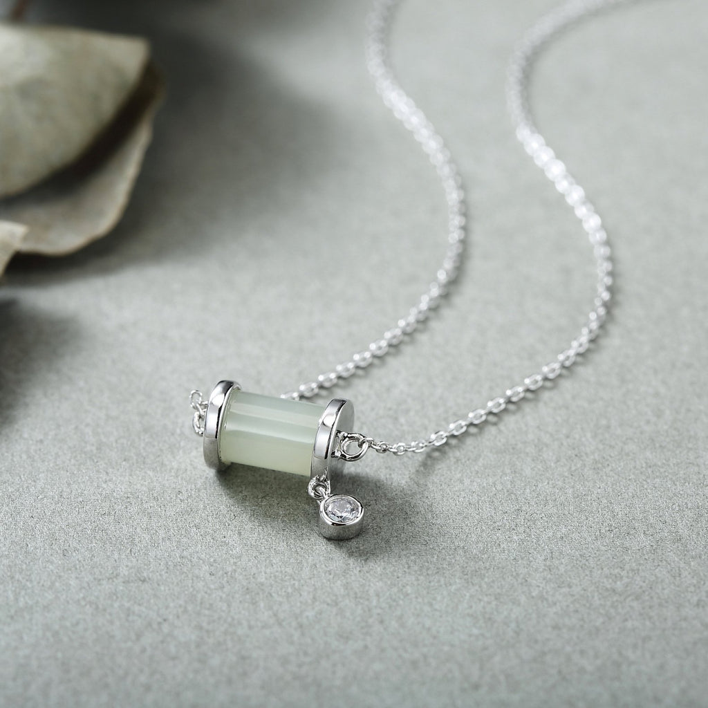 White Jade Silver Necklace