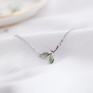 Charm Silver Opal Green Leaves Buds Bracelet