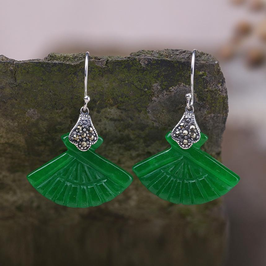 Original Fan-shaped Jade Drop Earrings