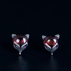 Red Fox Silver Stud Earrings