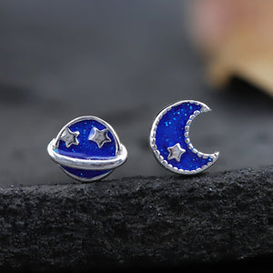 Sun and Moon Stud Earrings