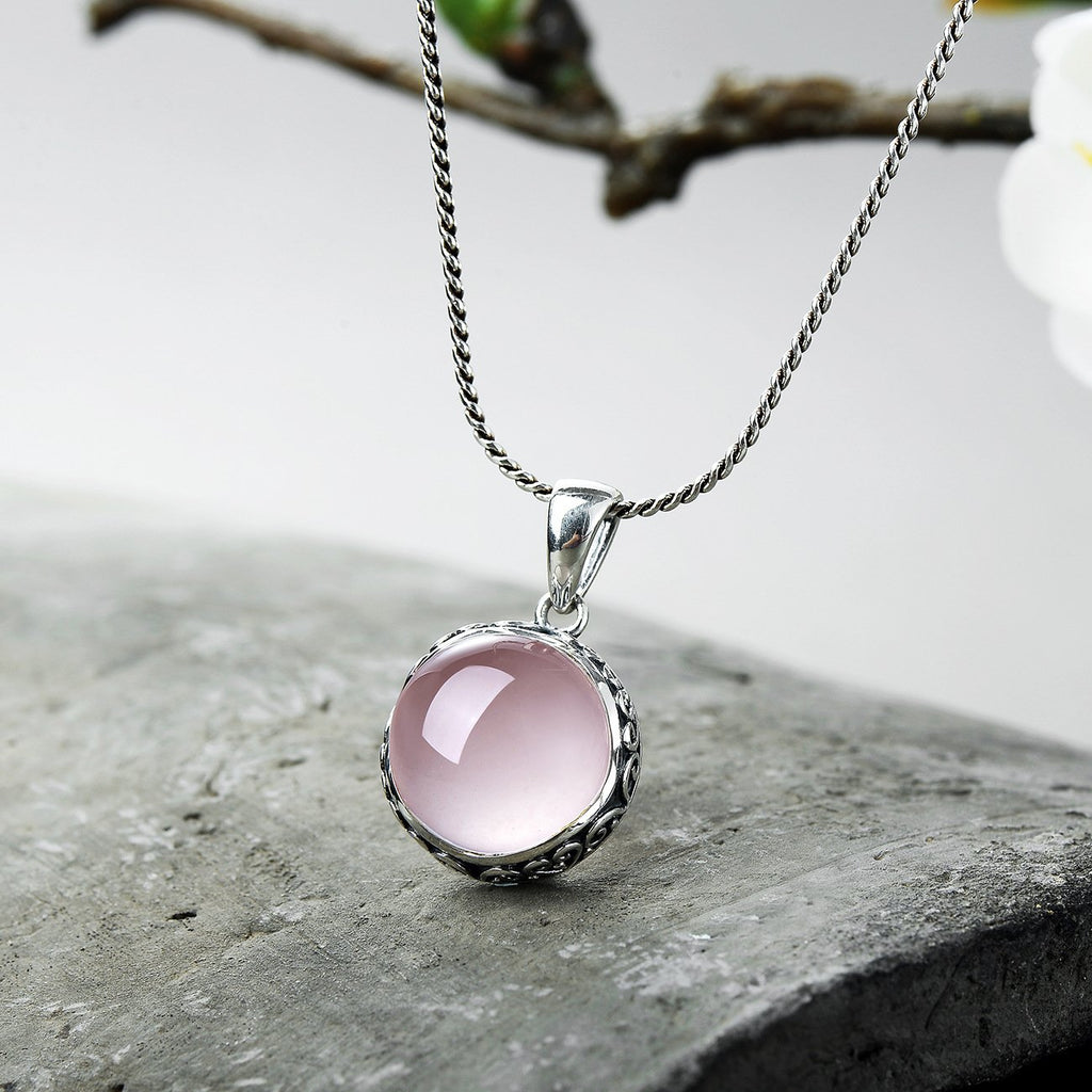 Engraving Natural Rose Quartz Necklace